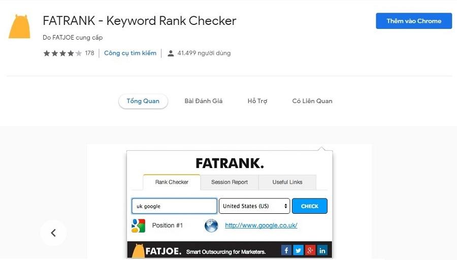 FatRank người dùng cũng có thể thêm keyword vào tìm kiếm của mình để tìm ra thứ hạng trên mỗi trang.