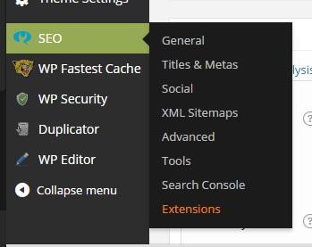 Sau khi kích hoạt thành công sẽ xuất hiện mục SEO trên menu sidebar bên tay trái trang dashboard admin và thanh menu dọc của màn hình.