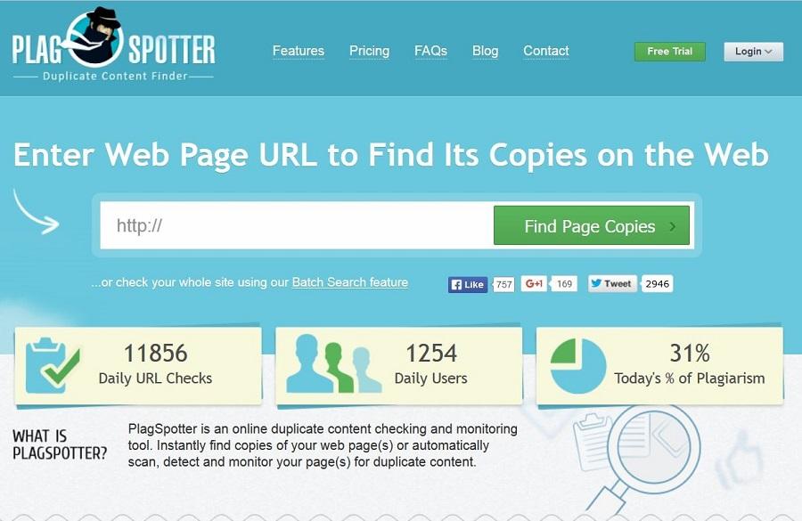 Plagspotter cùng là công cụ miễn phí kiểm tra bài viết chuẩn SEO.
