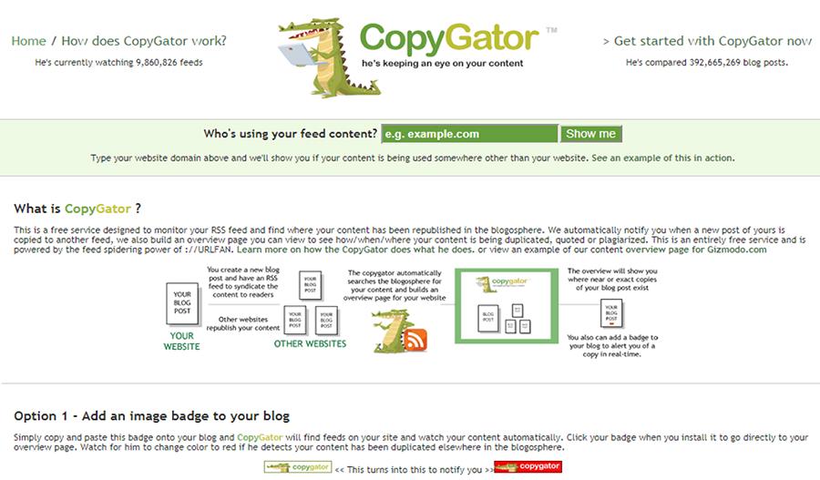 Copygator còn cho phép người dùng kiểm tra xem website nào đã copy nội dung từ website của bạn.