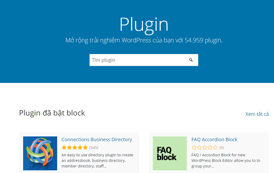Hiện nay, có tới 54.959 plugin WordPress bao gồm bản free và bản trả phí