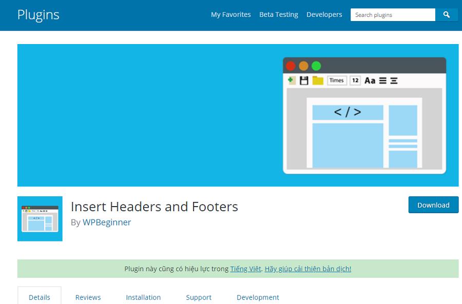 Insert Headers and Footers rất hữu ích khi quản lý WordPress