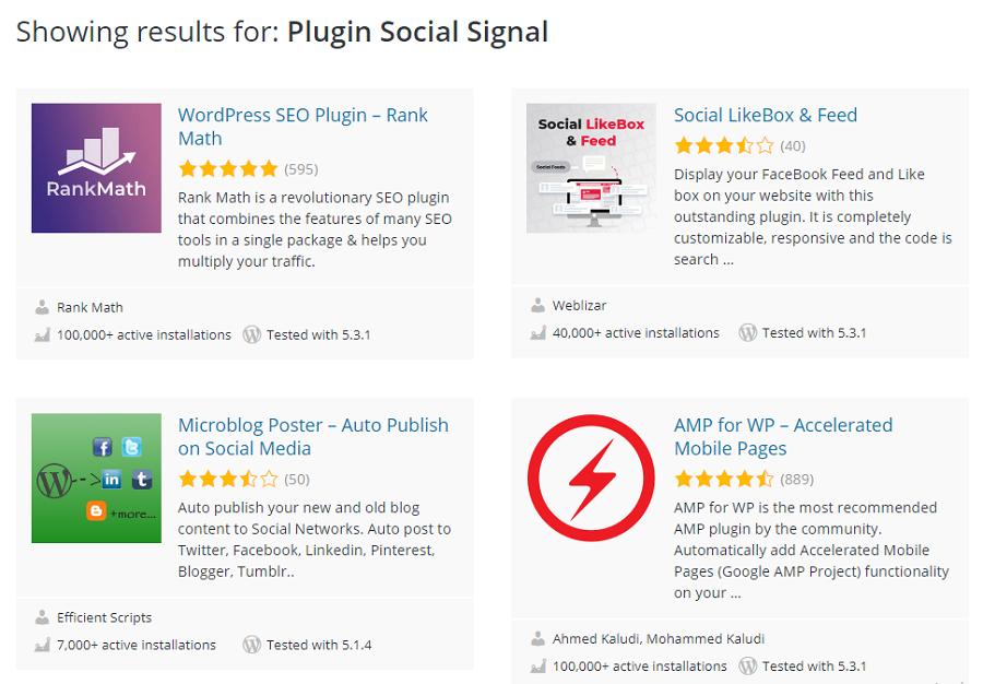 Có nhiều plugin hỗ trợ Social Signal