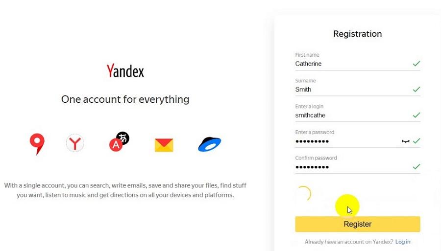 Để đăng ký một tài khoản Yandex, người dùng truy cập vào link https://mail.yandex.com/.