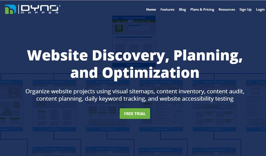 DYNO Mapper là kiểm tra thứ hạng từ khóa chính xác nhất được tích hợp hai tính năng: Tạo sitemap và theo dõi keyword.