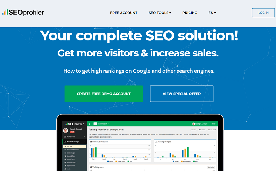 Công cụ SEO Profiler được tích hợp với Google Analytics.