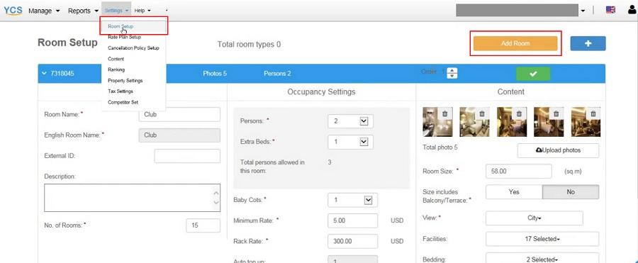Mục Cài đặt phòng (Room Setting) còn cho phép người dùng thay đổi những thông tin về phòng khách sạn của bạn.