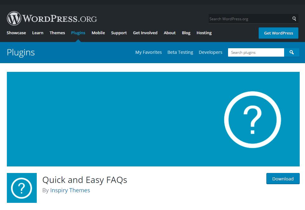 Thêm một plugin FAQ được đông đảo người dùng yêu thích nữa đó là Quick and Easy FAQs.