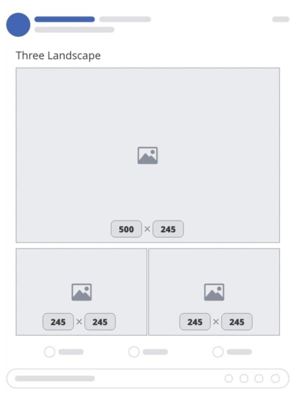 Size hình bài đăng facebook với 03 hình chữ nhật nằm ngang