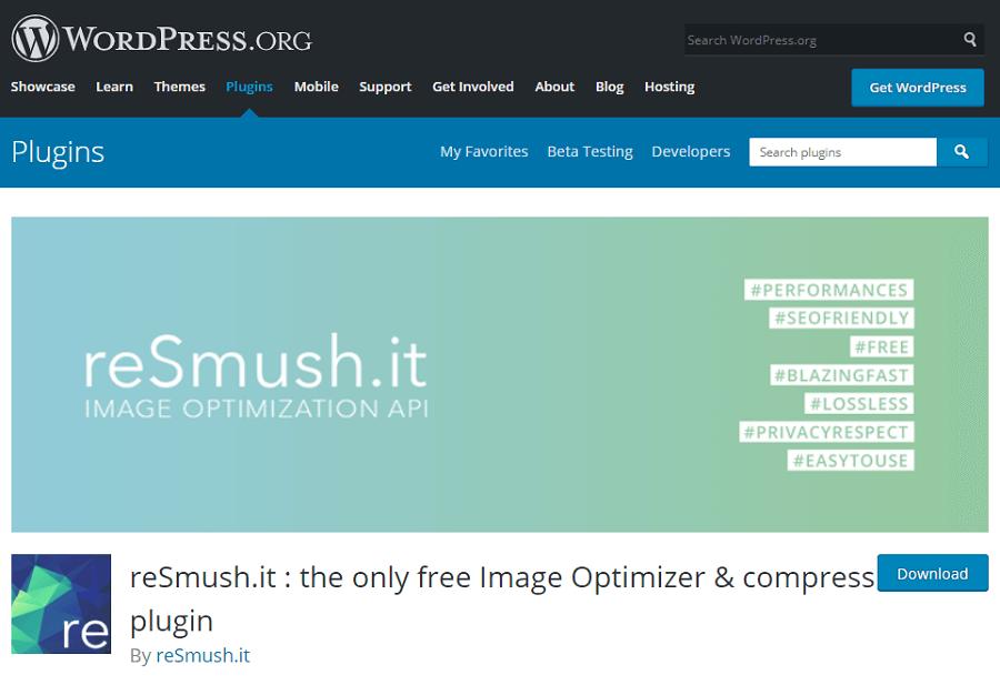 reSmush.it Image Optimizer - plugin nén ảnh được đông đảo người dùng lựa chọn.