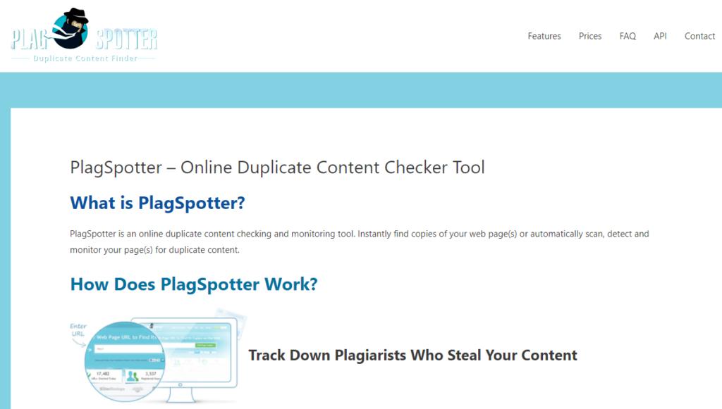 Plagspotter là công cụ miễn phí giúp người dùng theo dõi các tài liệu đã được cấp phép bản quyền trên internet phạm vi toàn cầu.