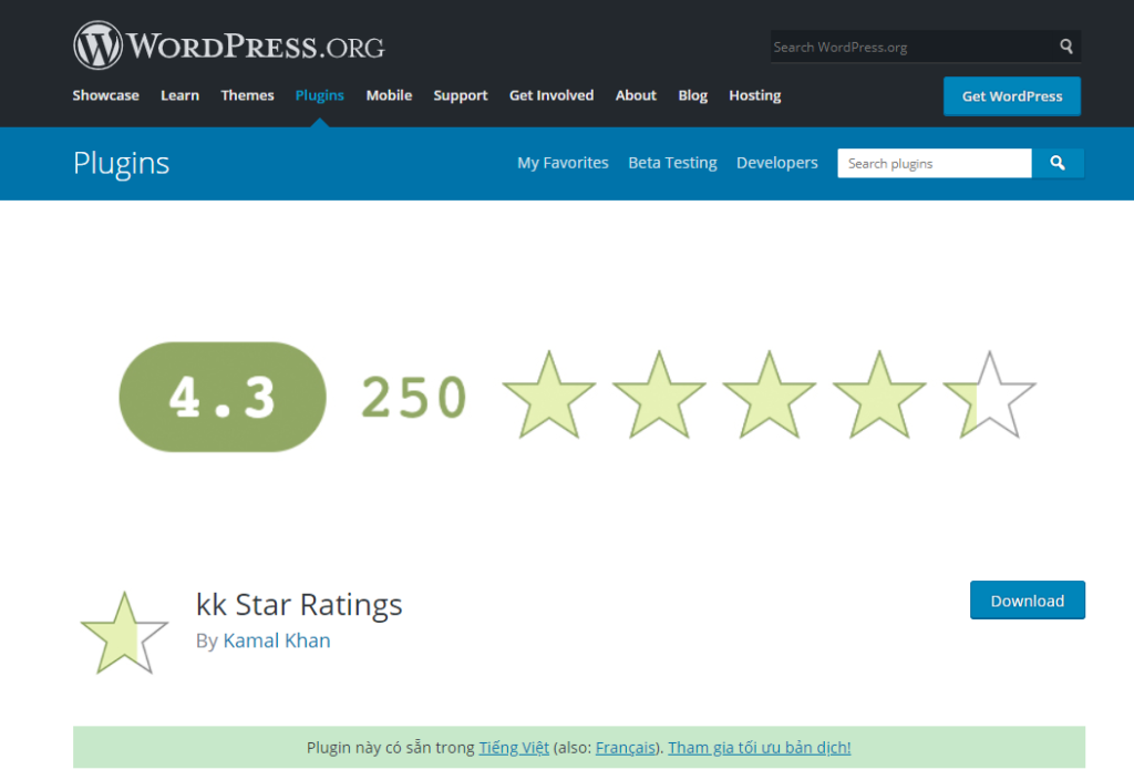 Plugin kk Star Ratings giúp người dùng có thể tạo nên các rich snippets đơn giản